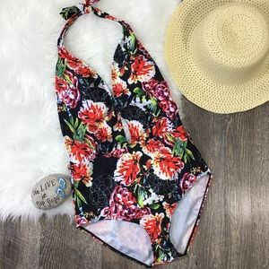 Other - Floral One Piece Swimsuit Deep Plunging Neck Line
